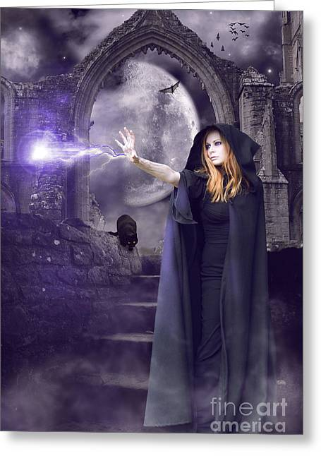 Witch Halloween Cat Wicca Greeting Cards - The Spell is Cast Greeting Card by Linda Lees