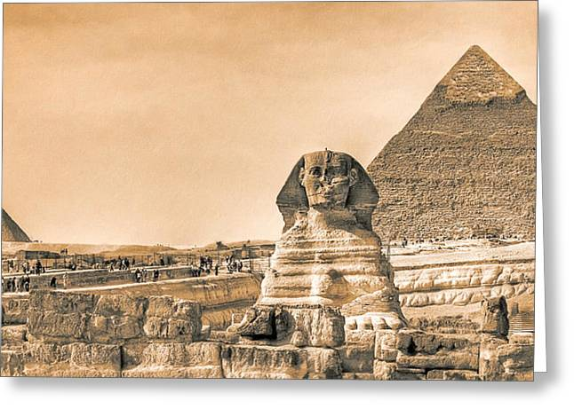 Historic Site Greeting Cards - The Sphinx And Pyramids - Vintage Egypt Greeting Card by Mark Tisdale