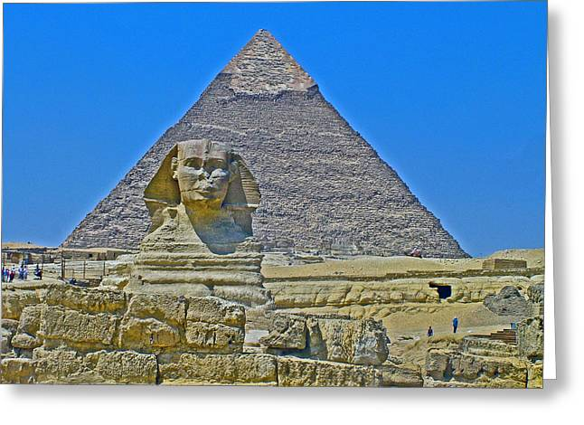 The Plateaus Digital Greeting Cards - The Sphinx in Front of Chephren Pyramid on Giza Plateau near Cairo-Egypt Greeting Card by Ruth Hager