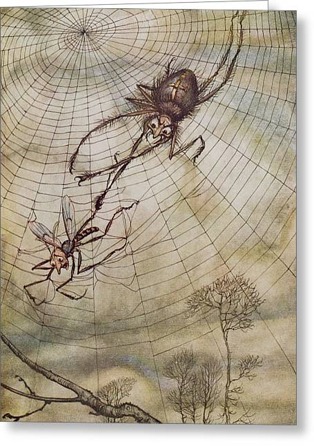 Spider Greeting Cards - The Spider and the Fly Greeting Card by Arthur Rackham