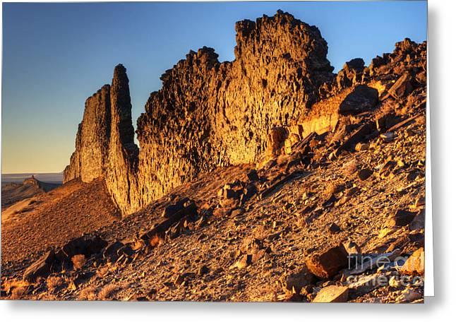Photography As Art Greeting Cards - The Spine Of Shiprock Greeting Card by Bob Christopher