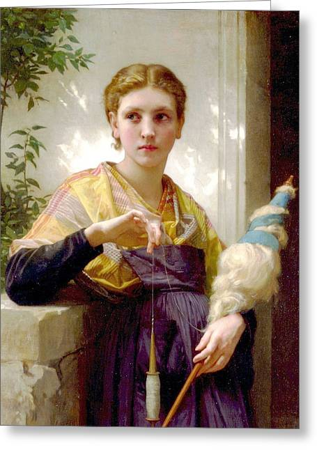 Williams Sisters Greeting Cards - The Spinner Detail Greeting Card by William Bouguereau
