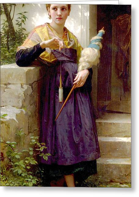 Williams Sisters Greeting Cards - The Spinner Greeting Card by William Bouguereau