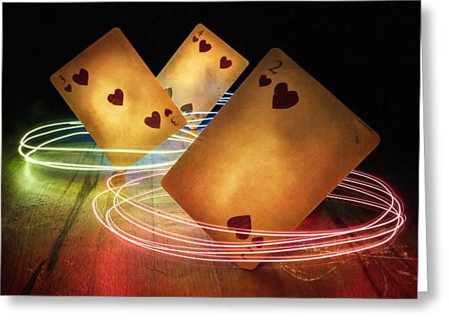 Playing Cards Greeting Cards - The Spinning Trick Greeting Card by Jordan Browning