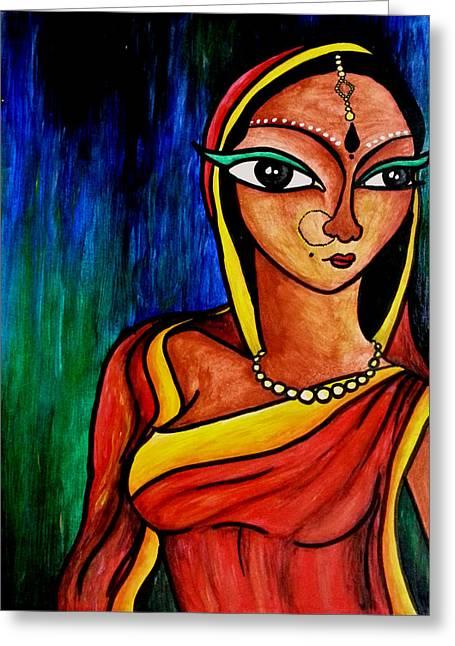 Acrylic Art Greeting Cards - The Spinster  Greeting Card by Sivaanan Balachandran