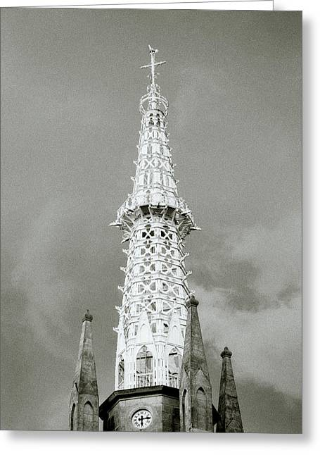 Surreal Fantasy Gothic Church Greeting Cards - The Spire Greeting Card by Shaun Higson