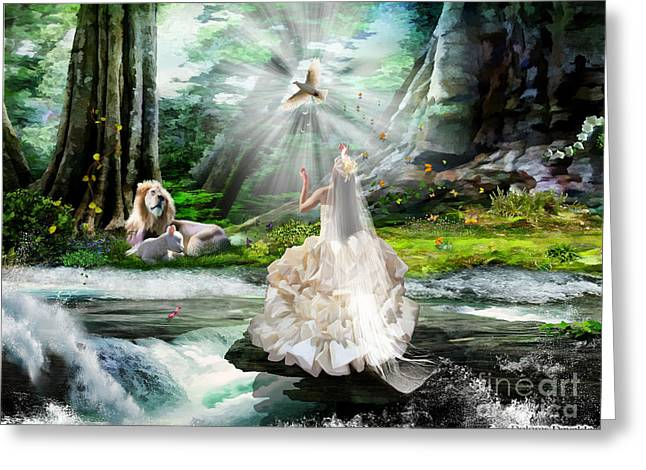 Lion And Lamb Greeting Cards - The Spirit and the Bride Greeting Card by Dolores Develde