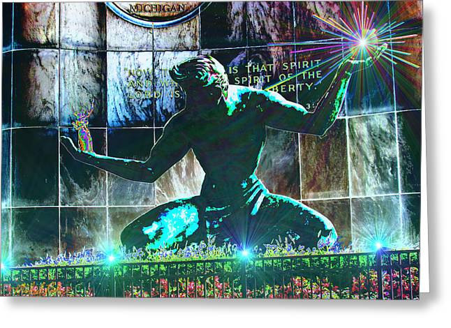 The Spirit of Detroit Greeting Card by Michael Rucker