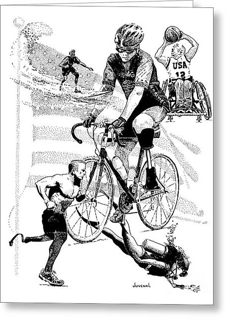 Jogging Drawings Greeting Cards - The Spirit of Freedom Greeting Card by Joseph Juvenal