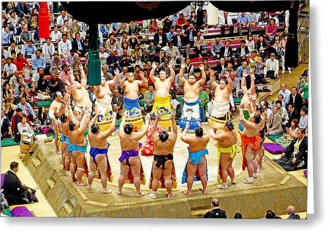 Japan Village Greeting Cards - The Spirit of Sumo Greeting Card by Evan Peller
