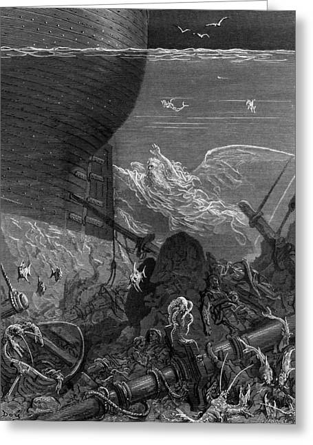 Voyage Drawings Greeting Cards - The Spirit that had followed the ship from the Antartic Greeting Card by Gustave Dore