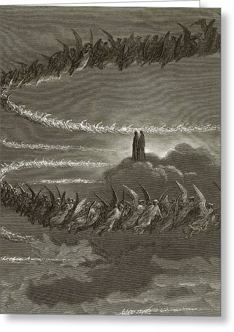 Celestial Paintings Greeting Cards - The Spirits in Jupiter Greeting Card by Gustave Dore
