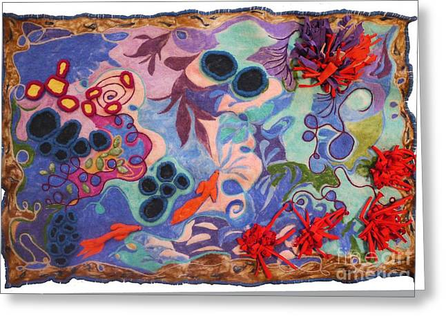 Nature Abstract Tapestries - Textiles Greeting Cards - The Spiritual Component Greeting Card by Heather Hennick