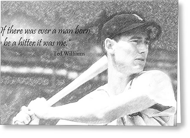 Baseball Hall Of Famer Ted Williams Greeting Cards - The Splendid Splinter Greeting Card by Ralph Bonna