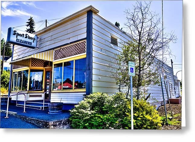 Small Towns Greeting Cards - The Spot Shop Cleaners - Pullman Washington Greeting Card by David Patterson
