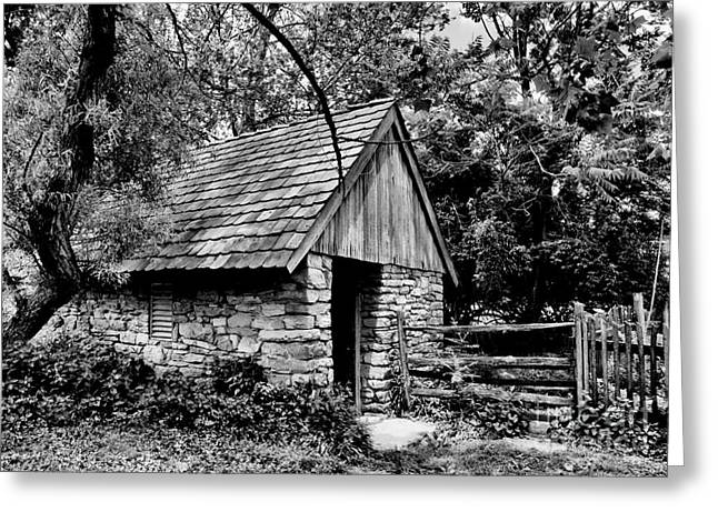Stone Barn Greeting Cards - The Spring House Greeting Card by Paul W Faust -  Impressions of Light