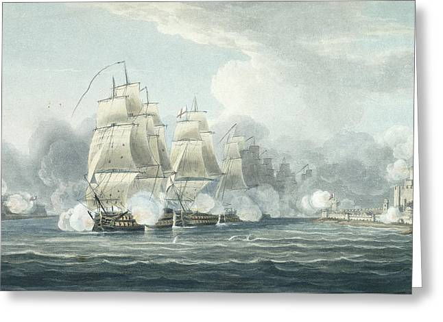 Battle Ship Greeting Cards - The Squadron Under Command Of Sir F.t Greeting Card by Thomas Whitcombe