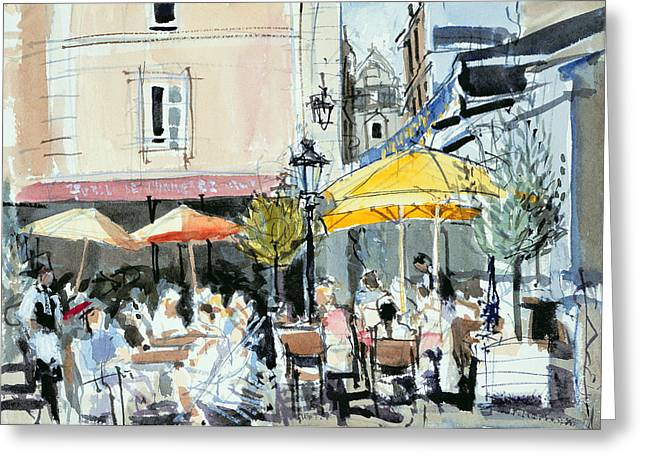 Cafe; Restaurant; French; Open Air; Dining; Eating; Al Fresco; Courtyard; Tables; Umbrellas; Brittany; Shade; Parasols; Terrace Greeting Cards - The Square at St. Malo Greeting Card by Felicity House