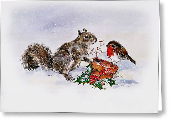 Winter Flowers Greeting Cards - The Squirrel And The Robin Greeting Card by Diane Matthes