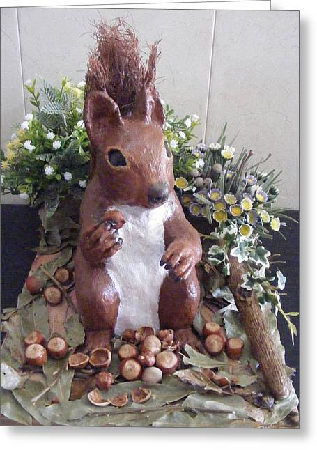 Business Sculptures Greeting Cards - The Squirrel Greeting Card by Thomas McCaskie
