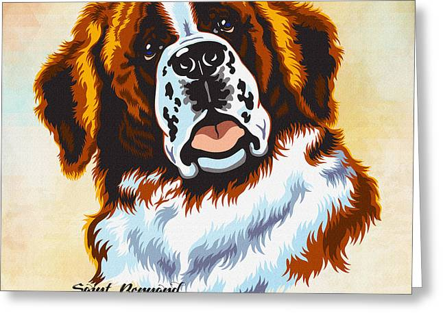 Gordon Setter Puppy Greeting Cards - The St. Bernard or St Bernard Greeting Card by Don Kuing