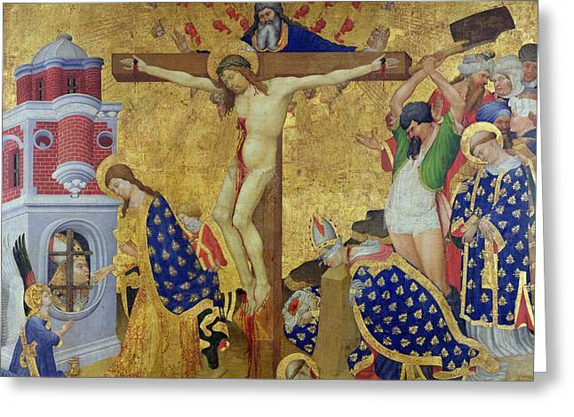 Martyrs Greeting Cards - The St. Denis Altarpiece Greeting Card by Henri Bellechose