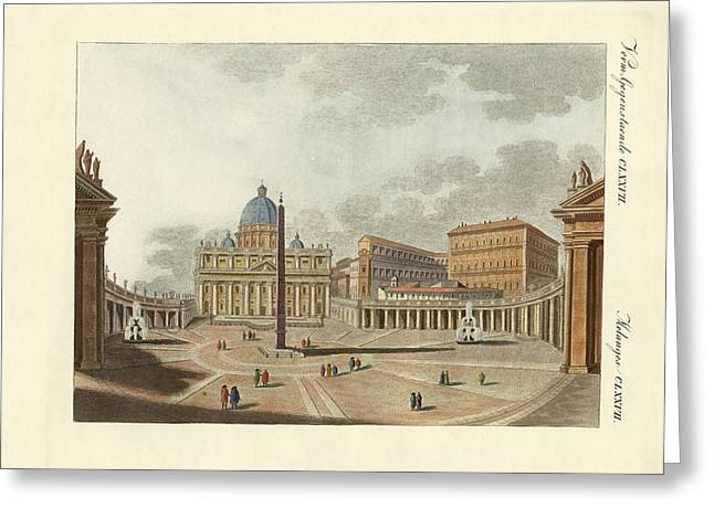 Architektur Drawings Greeting Cards - The St. Peters Cathedral in Rome Greeting Card by Splendid Art Prints