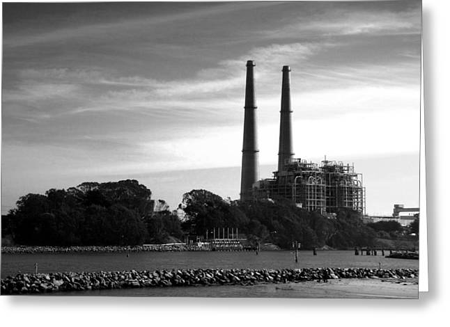 Moss Landing Boats Greeting Cards - The Stacks Moss Landing CA In Black and White Greeting Card by Joyce Dickens