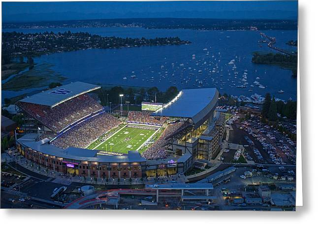 Huskies Greeting Cards - The Stadium and the Lake Greeting Card by Max Waugh