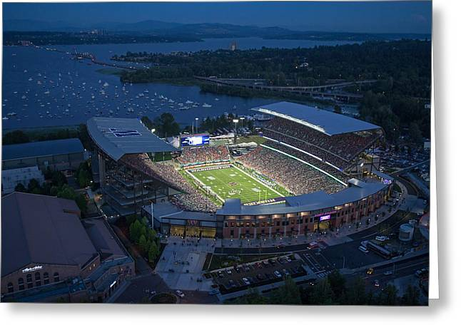 Husky Greeting Cards - The Stadium and the Mountain Greeting Card by Max Waugh