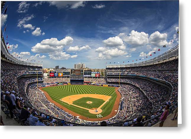 The Stadium Greeting Card by Rick Berk
