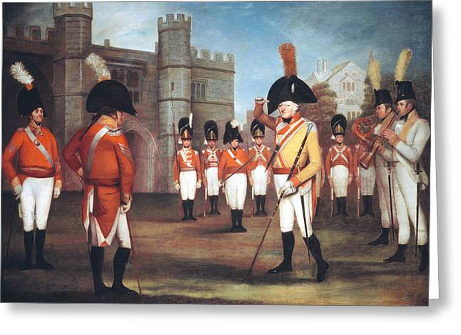 Military Greeting Cards - The Staffordshire Militia On Parade Greeting Card by Arthur William Devis