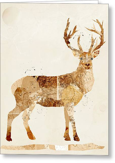 Vintage Map Digital Art Greeting Cards - The Stag Greeting Card by Bri Buckley