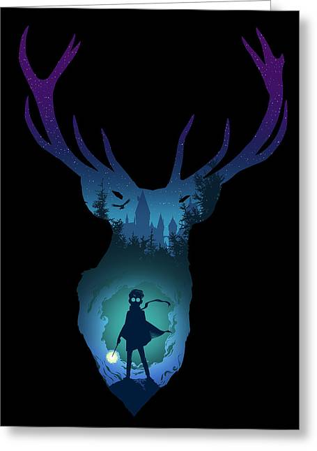 Harry Potter Greeting Cards - The Stag Greeting Card by Christopher Ables
