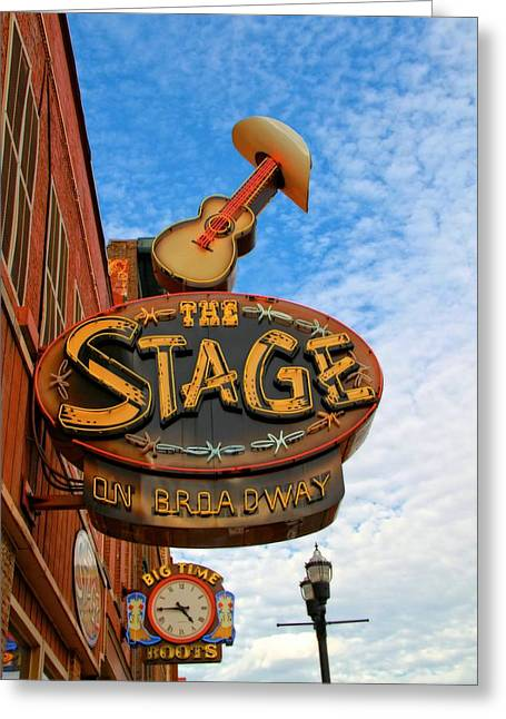 Nashville Downtown Greeting Cards - The Stage On Broadway Greeting Card by Dan Sproul