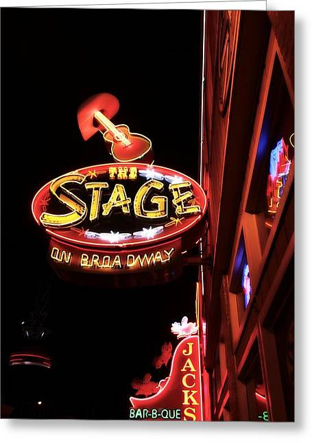 Nashville Downtown Greeting Cards - The Stage On Broadway In Nashville Greeting Card by Dan Sproul