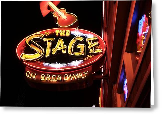 The Stage On Broadway In Nashville Greeting Card by Dan Sproul