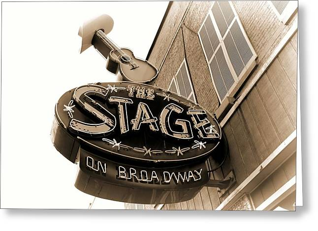 Live Music Greeting Cards - The Stage On Broadway Nashville Tennessee Greeting Card by Dan Sproul