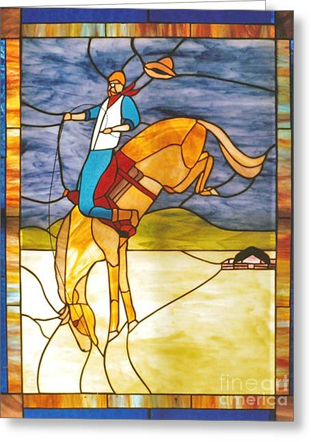 Horse Glass Greeting Cards - The Stained Glass Cowboy Riding Out The Bucks Greeting Card by Patricia Keller
