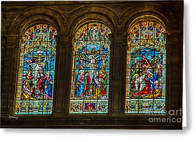Wholly Greeting Cards - The Stained Glass Windows of Malaga Cathedral Greeting Card by Rene Triay Photography