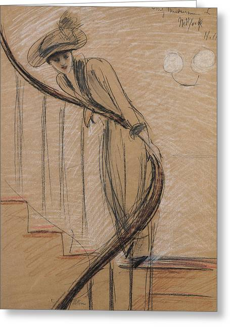 Bannister Greeting Cards - The Staircase Crayon On Paper Greeting Card by Paul Cesar Helleu