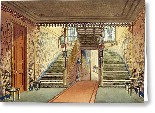 Double Greeting Cards - The Staircase, From Views Of The Royal Greeting Card by John Nash