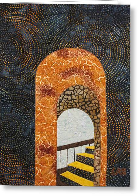 Lynda Boardman Art Tapestries - Textiles Greeting Cards - The Staircase Greeting Card by Lynda K Boardman