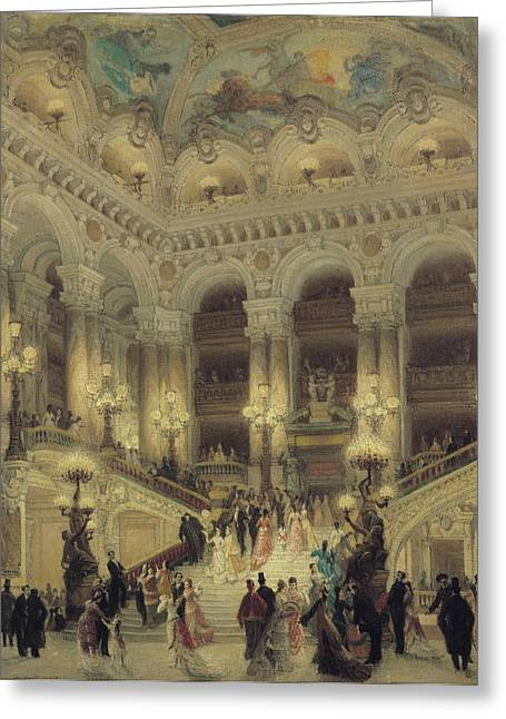 Night Lamp Greeting Cards - The Staircase of the Opera Greeting Card by Louis Beroud