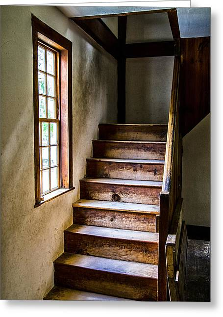 New England Village Greeting Cards - The Stairs Greeting Card by Karol  Livote