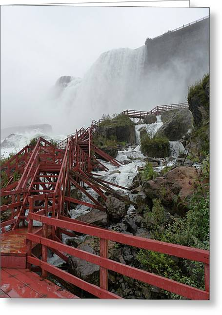Remond Greeting Cards - The Stairs to the Cave of the Winds - Niagara Falls Greeting Card by Rhonda Chase