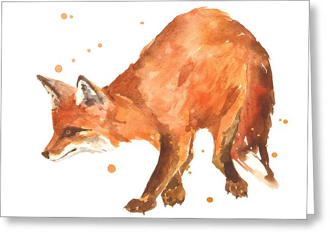 Fox Greeting Cards - The Stalker Greeting Card by Alison Fennell