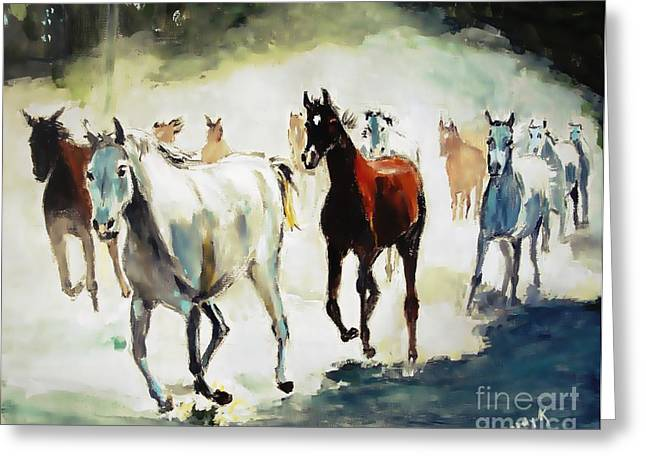 Wild Horses Greeting Cards - The Stampede  Greeting Card by Judy Kay