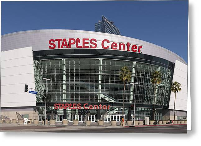 Los Angeles Clippers Greeting Cards - The Staples Center Greeting Card by Mountain Dreams