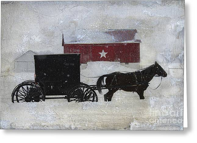 Horse And Buggy Greeting Cards - The Star Barn in Winter Greeting Card by David Arment